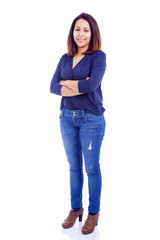 Casual woman smiling standing isolated on a white background