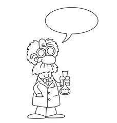 Monochrome outline cartoon scientist