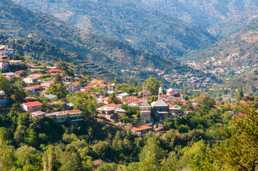 Pedoulas, a popular touristic village in the Nicosia. Cyprus