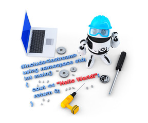 Robot and program source code. Isolated. Clipping path