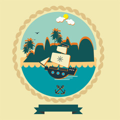 Pirate ship vintage illustration label