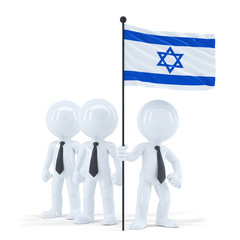 Business team holding flag of Israel. Isolated. Clipping path
