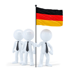 Business team holding flag of Germany. Isolated. Clipping path