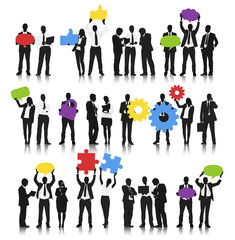 Vector of Business People Holding Social Media Symbols