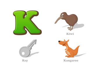 ABC letter K funny kid icons set: kiwi bird, key, kangaroo