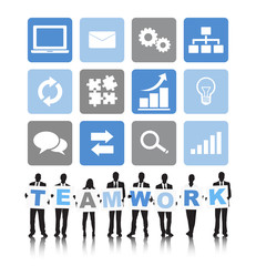 Silhouettes of Business People and Teamwork Concept