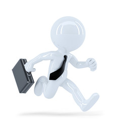 Running businessman. Isolated. Clipping path
