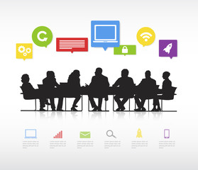 Silhouettes Of Business People Having A Meeting And Multi-Colore