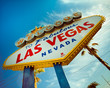 canvas print picture - Historic Las Vegas sign with retro tone