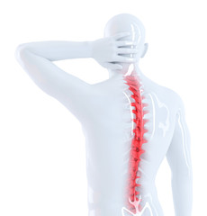 Back pain concept. Isolated. Contains clipping path