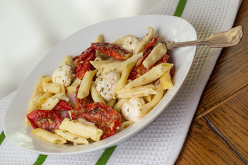 Italian meal of penne pasta