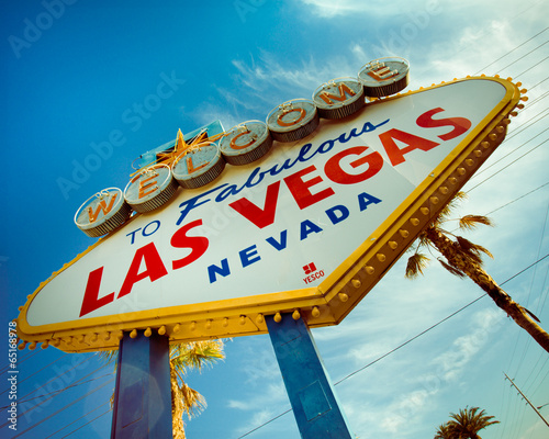 canvas print picture Historic Las Vegas sign with retro tone