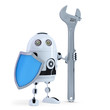 3D Robot with wrench and shield. Isolated. Clipping path