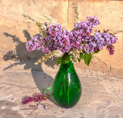 lilac and deutzia still life bouquet