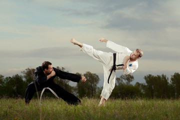 Black and white kimono karate boys kicks outdoor