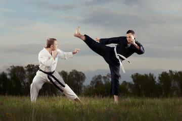 Karate fighters outdoor