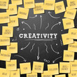 Creativity concept template with post it notes