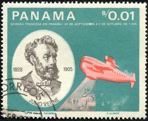 stamp printed in Panama shows Jules Verne , submarine Nautilus