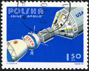 stamp printed in Poland shows Apollo and Soyuz Linked in Space