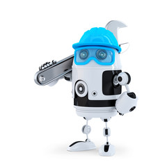 3D Robot with adjustable wrench. Isolated. Clipping path