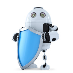 Robot with shielad. Security concept. Isolated. Clipping path