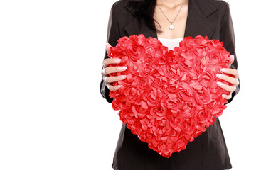 Business woman with red heart