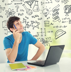 college student Thinking looking up some formula