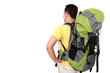 portrait of young man backpacker from behind