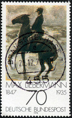 """Horseman on the shore turning left"" by Max Liebermann"