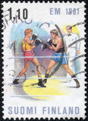 stamp printed by Finland, shows Boxing Match