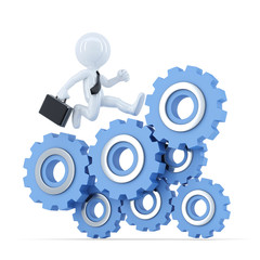 Businessman running on top of the gear mechanism. Clipping path