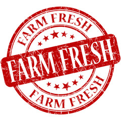 Farm fresh red round grungy vintage rubber stamp