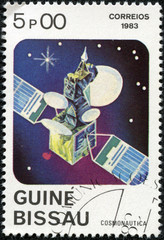stamp printed in Guinea-Bissau shows Space Communication