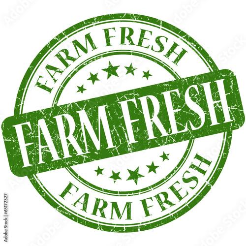Farm fresh green round grungy vintage rubber stamp