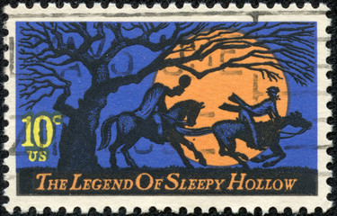 Headless Horseman pursuing Ichabod Crane
