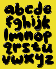 Black lower case bubble alphabet