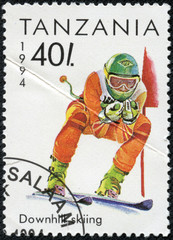 stamp printed in Tanzania shows winter sport.skiing