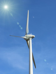 the  wind turbine on blue sky