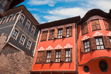 Houses Architecture in Plovdiv Bulgaria