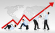 business man pushing a business graph upwards