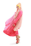 beautiful girl wearing pink muslim costume