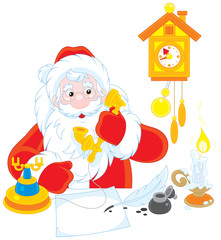 Santa Claus calling on the phone