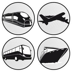 Bus, Schiff, Flugzeug, Zug