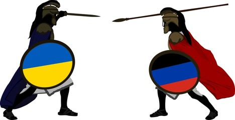 Ukrainian and pro-Russian warriors