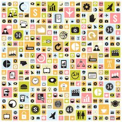 Wallpaper design with universal icons in square tiles pattern, v