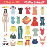 Woman summer clothing vector icon set. Pants, bra, dress etc.