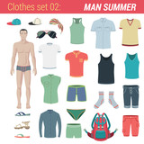 Man summer clothing vector icon set. Pants, socks, hat, t-shirt.
