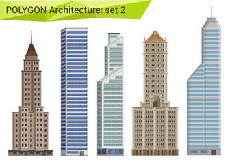 Polygonal style skyscrapers set. City design elements.