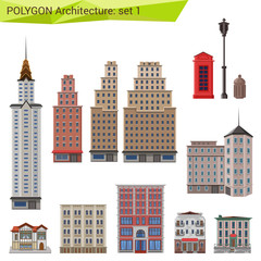 Polygonal style skyscrapers and buildings set. City design.