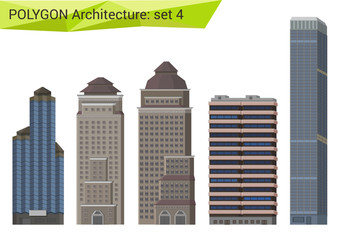 Polygon style skyscrapers set. City design elements.